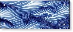 Blue And White Serenity Sea Monoprint Panoramic Acrylic Print by Amy Vangsgard