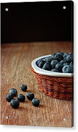 Blueberries In Wicker Basket Acrylic Print by © Brigitte Smith