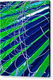 Bluegreen Palm Fun Acrylic Print by Gwyn Newcombe