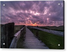 Boardwalk To Pacific Ocean Acrylic Print by Michael J Bauer