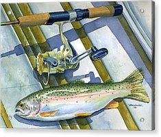 Boat Bottom Trout Acrylic Print by Mark Jennings