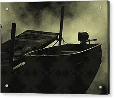 Boat In Fog Acrylic Print by Michael L Kimble
