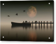 Boat On A Lake With Geese Flying Over Acrylic Print by Jan Keteleer