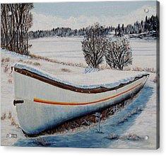 Boat Under Snow Acrylic Print by Marilyn  McNish