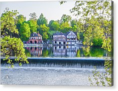 Boathouse Row - Framed In Spring Acrylic Print by Bill Cannon