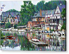 Boathouse Row In Philadelphia Acrylic Print by Bill Cannon