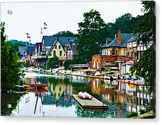 Boathouse Row In Philly Acrylic Print by Bill Cannon