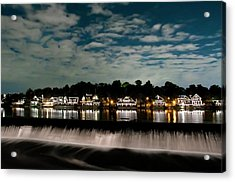 Boathouse Row - Nights Reflection Acrylic Print by Bill Cannon