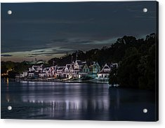 Boathouse Row Philadelphia Pa At Night  Acrylic Print by Terry DeLuco