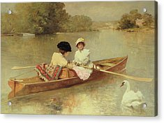 Boating On The Seine Acrylic Print by Ferdinand Heilbuth