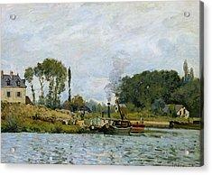 Boats At The Lock At Bougival Acrylic Print by Alfred Sisley
