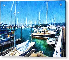 Boats Docked At Marina In Sausalito, Ca Acrylic Print by D S Images