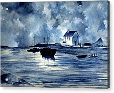 Boats In Blue Acrylic Print by Michael Vigliotti