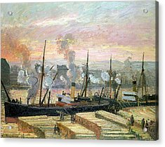 Boats Unloading Wood Acrylic Print by Camille Pissarro