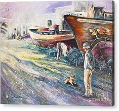 Boats Yard In Villajoyosa Spain Acrylic Print by Miki De Goodaboom