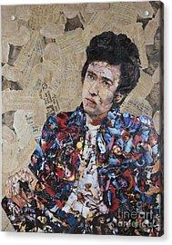 Bob Dylan Collage Acrylic Print by John Kerr