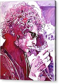 Bob Dylan Acrylic Print by David Lloyd Glover