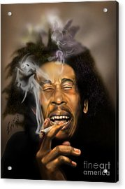 Bob Marley-burning Lights 3 Acrylic Print by Reggie Duffie