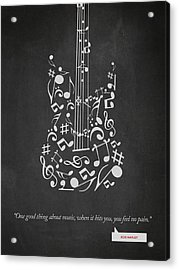Bob Marley Quote - One Good Thing About Music... 02 Acrylic Print by Aged Pixel