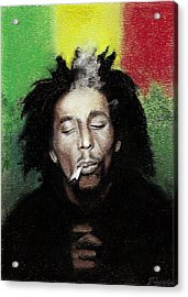Bob Marley- Smoke Break Acrylic Print by Raymond L Warfield jr