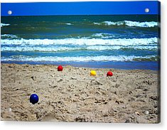 Bocce On The Beach Acrylic Print by Greg Simmons