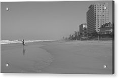 Body Boarding In Black And White Acrylic Print by Mandy Shupp