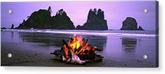 Bonfire On The Beach, Point Of The Acrylic Print by Panoramic Images