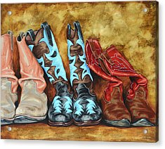 Boots Acrylic Print by Lesley Alexander