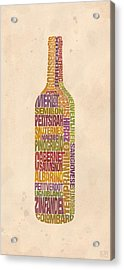 Bordeaux Wine Word Bottle Acrylic Print by Mitch Frey