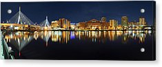 Boston Pano From Bridge To Bridge Acrylic Print by Shane Psaltis