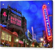 Boston Red Sox Fenway Park At Night  Acrylic Print by Joann Vitali