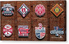 Boston Red Sox World Series Emblems Acrylic Print by Diane Diederich
