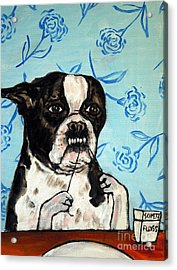 Boston Terrier Flossing Acrylic Print by Jay  Schmetz