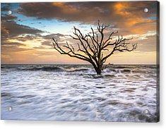 Botany Bay Edisto Island Sc Boneyard Beach Sunset Acrylic Print by Dave Allen