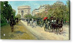 Boulevard In Paris Acrylic Print by Georges Stein