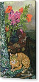 Bouquet And A Cat Acrylic Print by Marie Clementine Valadon