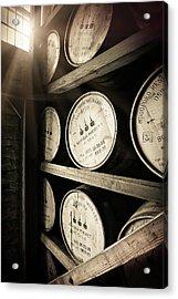 Bourbon Barrels By Window Light Acrylic Print by Karen Varnas