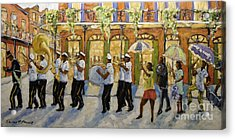 Bourbon Street Second Line New Orleans Acrylic Print by Richard T Pranke