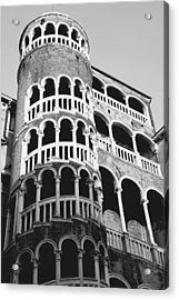 Bovolo Staircase In Venice Black And White Acrylic Print by Michael Henderson