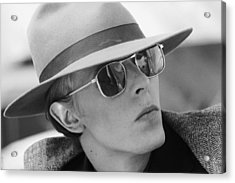 Bowie In Hat 1976 Acrylic Print by Terry O'Neill