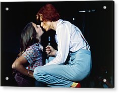 Bowie Kissing A Fan  Acrylic Print by Terry O'Neill