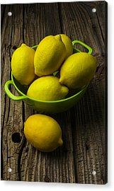 Bowl Of Lemons Acrylic Print by Garry Gay
