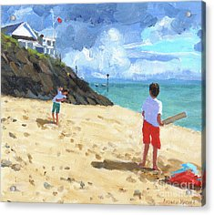 Bowling And Batting, Abersoch Acrylic Print by Andrew Macara