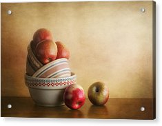 Bowls And Apples Still Life Acrylic Print by Tom Mc Nemar