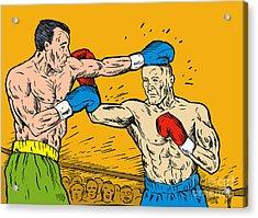 Boxer Punching Acrylic Print by Aloysius Patrimonio