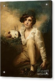 Boy And Rabbit Acrylic Print by Sir Henry Raeburn