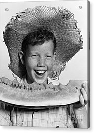 Boy Eating Watermelon, C.1940-50s Acrylic Print by H. Armstrong Roberts/ClassicStock