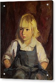 Boy In Blue Overalls Acrylic Print by Robert Henri