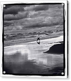 Boy On Shoreline Acrylic Print by Steve Gadomski