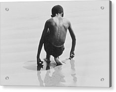 Boy Playing In The Sand At Coney Island Acrylic Print by Nat Herz